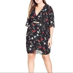 City Chic Black Floral Faux Wrap Dress